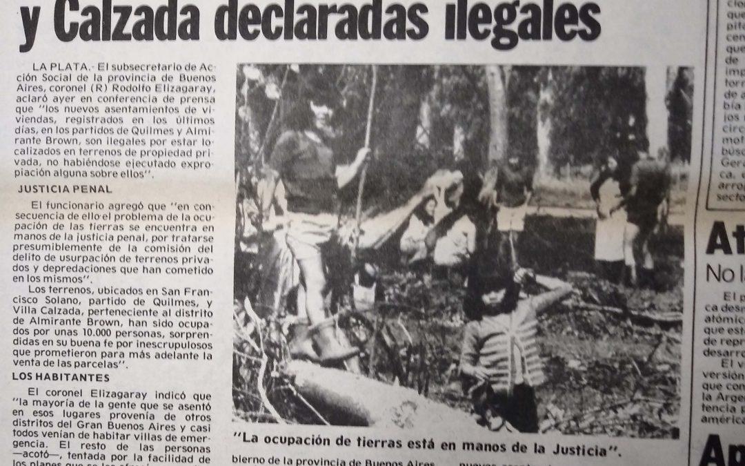 Pasado y presente de las tomas de tierras en el Gran Buenos Aires